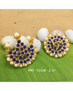 Temple Blue Kempu Stone With Pearls Stones Sun & Moon Dance Jewelry