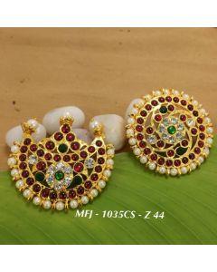 Templecz Ruby&Emerald Kempu Stone Sun & Moon Dance Jewelry