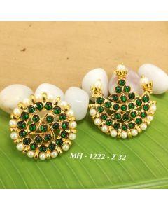 Temple Green Kempu Stone With Pearls Stones Sun & Moon Dance Jewelry