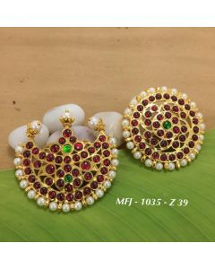 Temple Ruby&Emerald Kempu Stone Sun & Moon Dance Jewelry