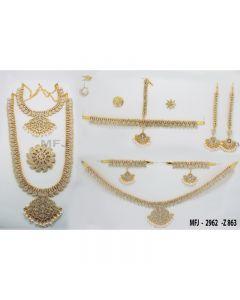 White Color Stones Flowers  &  Mango Design Gold Color Polished Combo Dance Set For Barathanatyam  &  Temple Buy Online