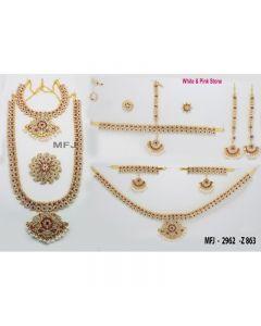 White  &  Pink Color Stones Flowers  &  Mango Design Gold Color Polished Combo Dance Set For Barathanatyam  &  Temple Buy Online