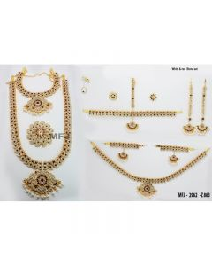 White  &  Red Color Stones Flowers  &  Mango Design Gold Color Polished Combo Dance Set For Barathanatyam  &  Temple Buy Online