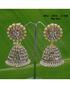 White Stones With Pearls Design Jumkas For Bharatanatyam Dance And Temple Buy Online