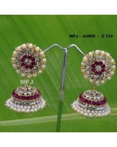 White red Stones With Pearls Design Jumkas For Bharatanatyam Dance And Temple Buy Online