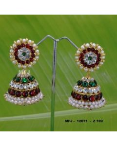 White red green Stones With Pearls Design Jumkas For Bharatanatyam Dance And Temple Buy Online