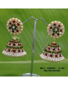 White red green Stones With Pearls Design Jumkas For Bharatanatyam Dance And Temple Buy Online (1)
